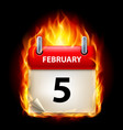 fifth february in calendar burning icon on black vector image vector image
