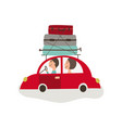flat cartoon travelling car with bags vector image