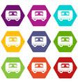food trailer icon set color hexahedron vector image vector image
