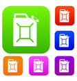 fuel jerrycan set color collection vector image vector image