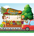Girls shopping for fresh ingredients vector image