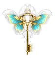 Golden Key with Butterfly Wings vector image vector image