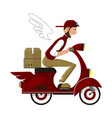 happy courier on a red scooter delivers the vector image vector image