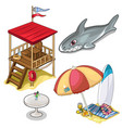 isolated set of beach rest attributes vector image vector image