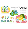 isometric dairy industry infographic concept vector image