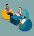 isometric young people freelancers students vector image vector image