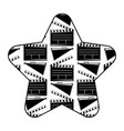 label star with movie cinema clapperboard and vector image vector image