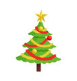 new year tree icon on stand decorated by garland vector image