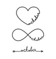 october - word with infinity symbol hand drawn vector image vector image