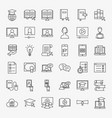online learning line icons set vector image