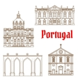 Portuguese travel landmarks of Lisbon icons vector image