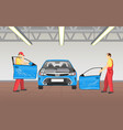 repairmen changing car doors vector image vector image