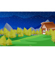 Scene with pine trees and house vector image vector image