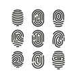 set of fingerprint icons on vector image vector image