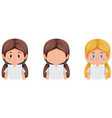 set of girl with diffrent hair color vector image