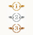 set of rank emblems - gold silver bronze vector image vector image