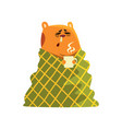 sick cartoon hamster character with flu wrapped in vector image vector image