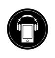 smartphone with headphones vector image vector image