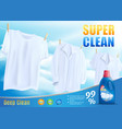 super clean washing with new detergent vector image vector image