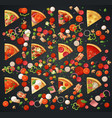 various pizza top view slices and ingredients vector image