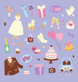 wedding cartoon icons vector image vector image