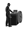 wheel balancer single icon in black style vector image vector image