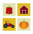 white background with colorful squares with farm vector image vector image