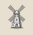 windmill mill logo or label farm agriculture vector image vector image