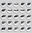 wings icons set on plates background for graphic vector image vector image