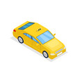 yellow taxi car isolated isometric 3d icon vector image vector image