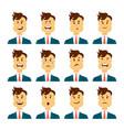 set of male facial emotions bearded man emoji vector image