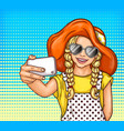 pop art little girl in sunglasses and vector image