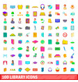 100 library icons set cartoon style vector image vector image