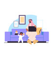 arab father playing with little son and using vector image