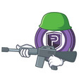 army pivx coin character cartoon vector image vector image