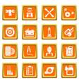auto repair icons set orange square vector image vector image