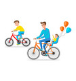 biker family silhouette father with two kids on vector image vector image