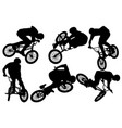 bmx bike riders silhouettes vector image vector image