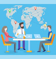 boss and workers on meeting international business vector image