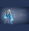 bottle cosmetic mockup on blue background vector image vector image