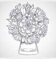 bouquet of marygold and bluebells flowers vector image vector image