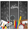 cartoon school supplies on blackboard background vector image
