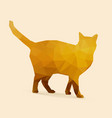 cat polygon golden silhouette vector image