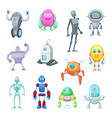 characters funny robots in cartoon style vector image