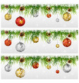 christmas with fir garland isolated on white vector image