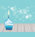 cupcake with blue candle on wooden planks vector image