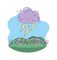 cute landscape cartoon vector image vector image