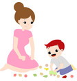 cute mom and happy boy vector image
