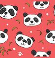cute panda bear seamless pattern animals vector image