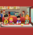 family eating out in the restaurant vector image vector image